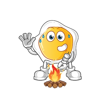 Personagem de desenho animado de ovo frito assando marshmallows