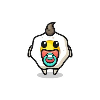 Personagem de desenho animado de ovo frito com chupeta, design de estilo fofo para camiseta, adesivo, elemento de logotipo