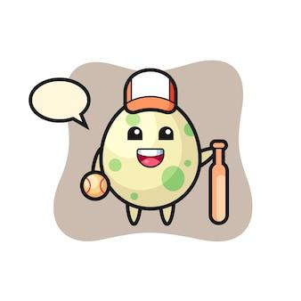Personagem de desenho animado de ovo manchado como um jogador de beisebol, design de estilo fofo para camiseta, adesivo, elemento de logotipo