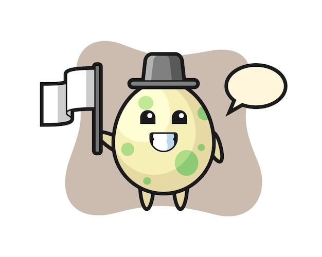 Personagem de desenho animado de ovo manchado segurando uma bandeira, design de estilo fofo para camiseta, adesivo, elemento de logotipo