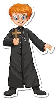 Personagem de desenho animado de padre segurando um adesivo de cruz cristã