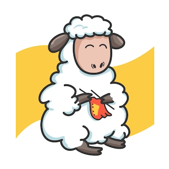 Personagem de desenho animado de pano de tricô de ovelhas