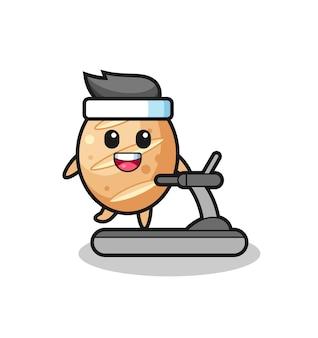 Personagem de desenho animado de pão francês andando na esteira, design fofo