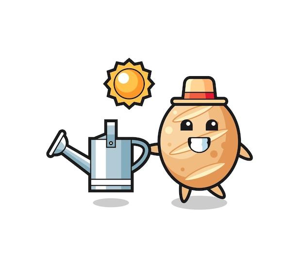 Personagem de desenho animado de pão francês segurando um regador, design bonito
