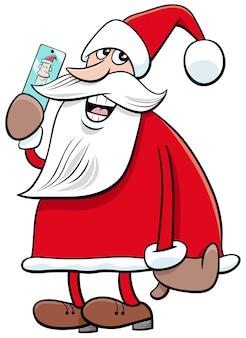 Personagem de desenho animado de papai noel com telefone inteligente