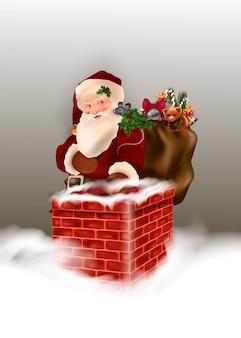 Personagem de desenho animado de papai noel feliz em cena de neve de natal.