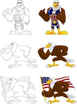 Personagem de desenho animado de pássaro águia. conjunto de coleta isolado