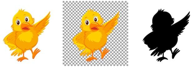 Personagem de desenho animado de pássaro amarelo fofo