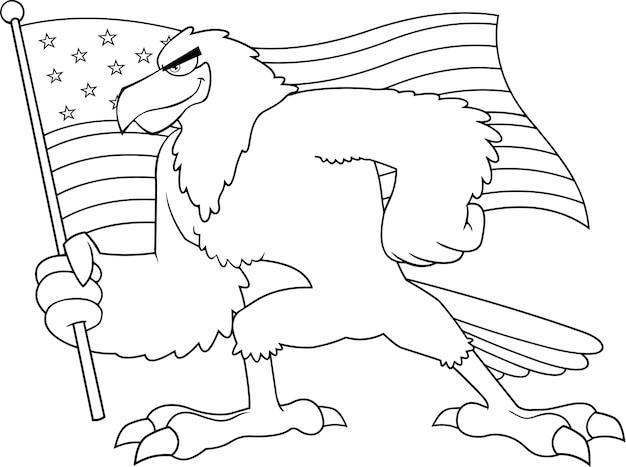 Personagem de desenho animado de pássaro de águia preto e branco acenando a bandeira americana. ilustração isolada no fundo branco