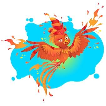 Personagem de desenho animado de pássaro de fogo fenix