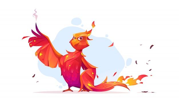 Personagem de desenho animado de pássaro phoenix ou fenix fogo.