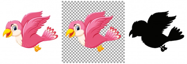 Personagem de desenho animado de pássaro rosa fofo
