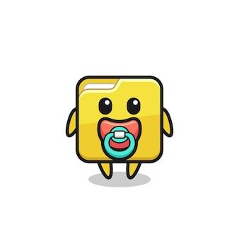 Personagem de desenho animado de pasta de bebê com chupeta, design de estilo fofo para camiseta, adesivo, elemento de logotipo