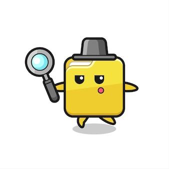 Personagem de desenho animado de pasta pesquisando com uma lupa, design de estilo fofo para camiseta, adesivo, elemento de logotipo