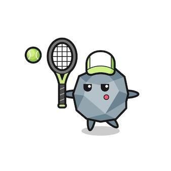 Personagem de desenho animado de pedra como um jogador de tênis, design de estilo fofo para camiseta, adesivo, elemento de logotipo
