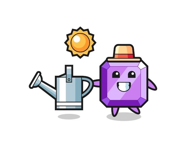 Personagem de desenho animado de pedra preciosa roxa segurando o regador, design de estilo fofo para camiseta, adesivo, elemento de logotipo