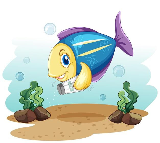 Personagem de desenho animado de peixe fofo segurando uma garrafa de sal