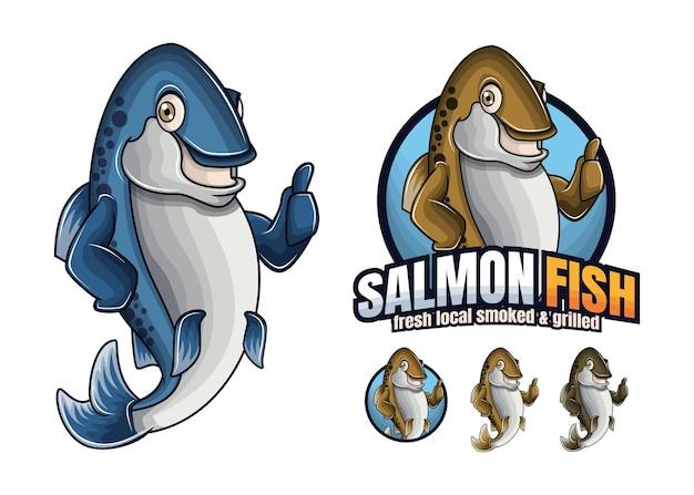 Personagem de desenho animado de peixe salmão