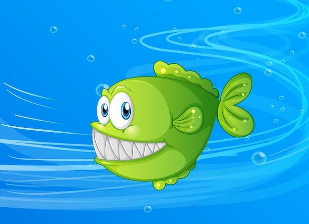 Personagem de desenho animado de peixes exóticos na cena subaquática