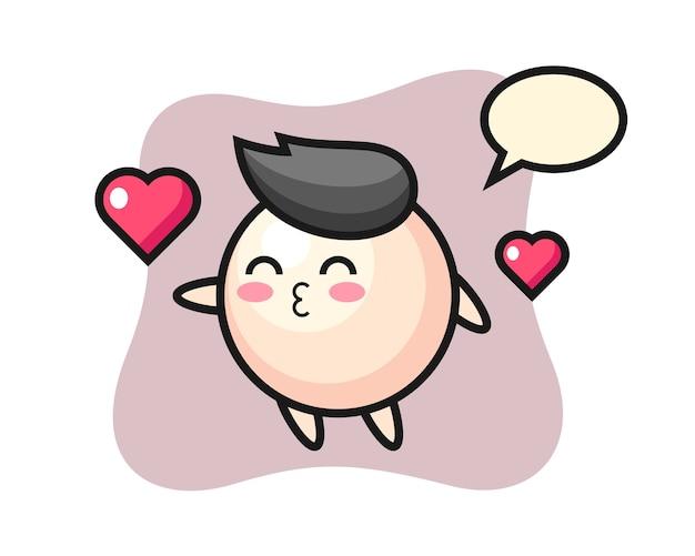 Personagem de desenho animado de pérola com gesto de beijo