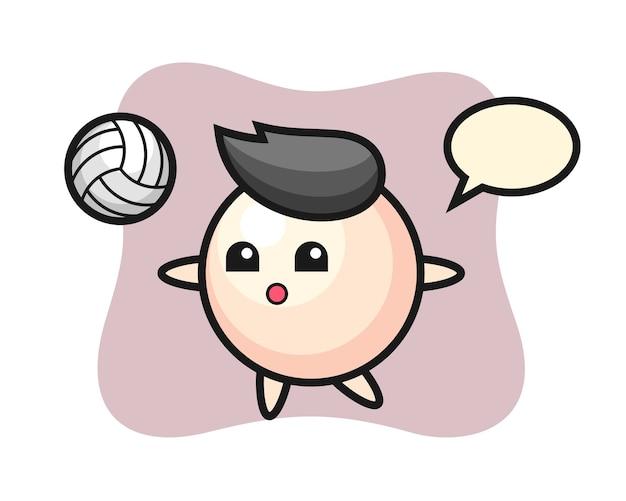 Personagem de desenho animado de pérola jogando vôlei