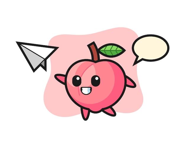 Personagem de desenho animado de pêssego jogando avião de papel, design de estilo bonito para camiseta