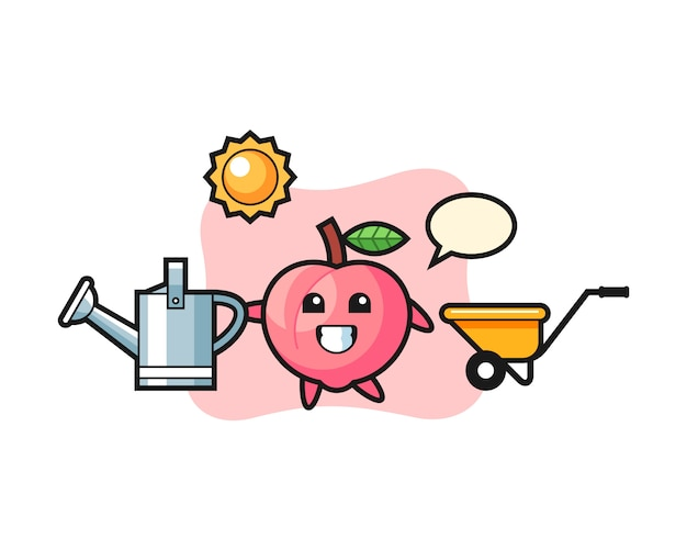 Personagem de desenho animado de pêssego segurando o regador, design de estilo bonito para camiseta