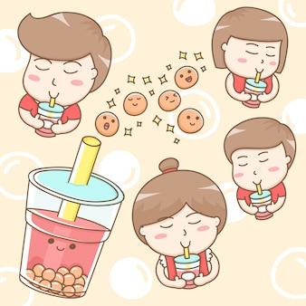 Personagem de desenho animado de pessoas bebendo chá de bolha doce