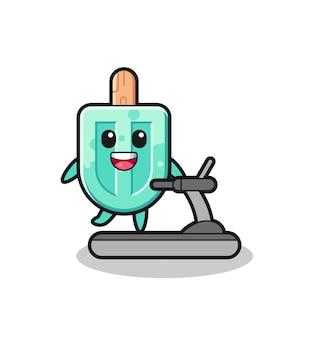 Personagem de desenho animado de picolé andando na esteira, design fofo