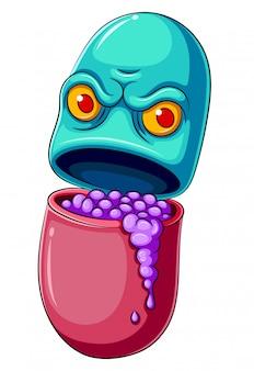Personagem de desenho animado de pílula ou medicina