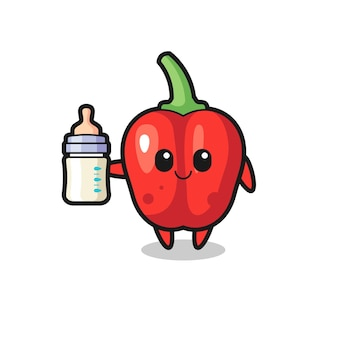 Personagem de desenho animado de pimentão vermelho bebê com garrafa de leite, design de estilo fofo para camiseta, adesivo, elemento de logotipo