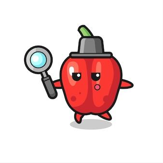 Personagem de desenho animado de pimentão vermelho pesquisando com uma lupa