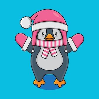 Personagem de desenho animado de pinguim bonitinho