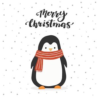 Personagem de desenho animado de pinguim e letras qoute