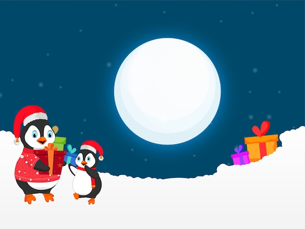 Personagem de desenho animado de pinguins com caixas de presente e neve no fundo azul da lua cheia