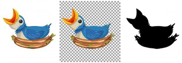 Personagem de desenho animado de pintinhos de pássaro