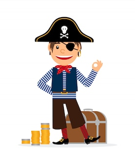 Personagem de desenho animado de pirata com moedas de ouro e baú do tesouro