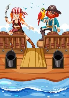 Personagem de desenho animado de pirata no navio com prancha de madeira