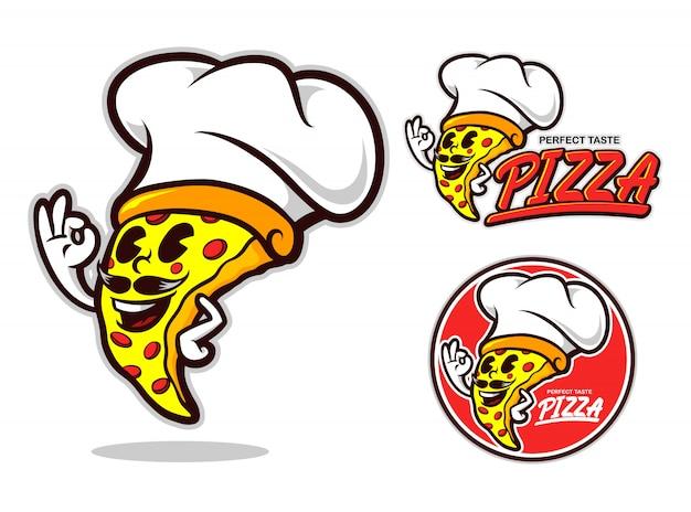 Personagem de desenho animado de pizza chef