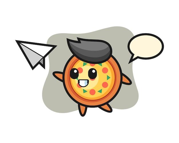 Personagem de desenho animado de pizza jogando avião de papel