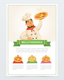 Personagem de desenho animado de pizzaiolo italiano segurando pizza quente
