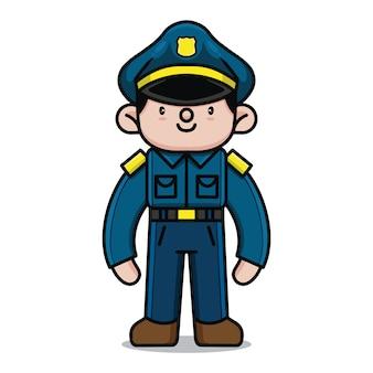 Personagem de desenho animado de polícia bonito
