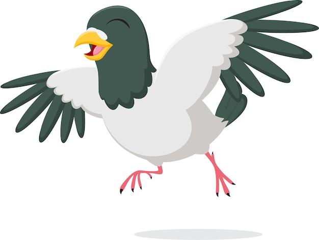 Personagem de desenho animado de pombo feliz