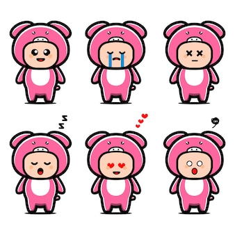 Personagem de desenho animado de porco fofo