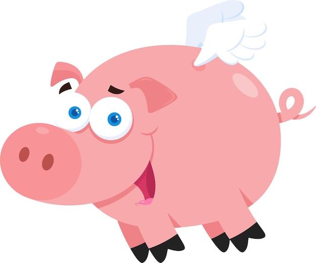 Personagem de desenho animado de porco voando