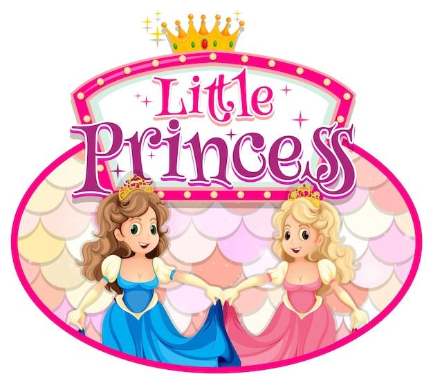 Personagem de desenho animado de princesa com tipografia de fonte little princess