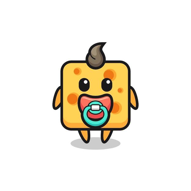 Personagem de desenho animado de queijo bebê com garrafa de leite, design de estilo fofo para camiseta, adesivo, elemento de logotipo
