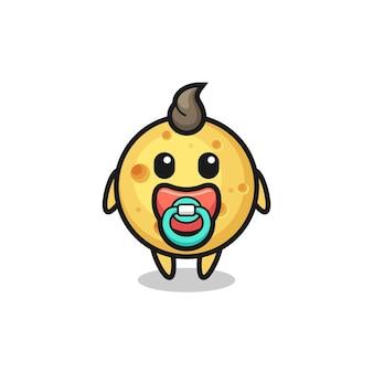 Personagem de desenho animado de queijo redondo de bebê com chupeta, design de estilo fofo para camiseta, adesivo, elemento de logotipo