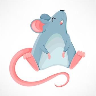 Personagem de desenho animado de rato engraçado, ano do rato