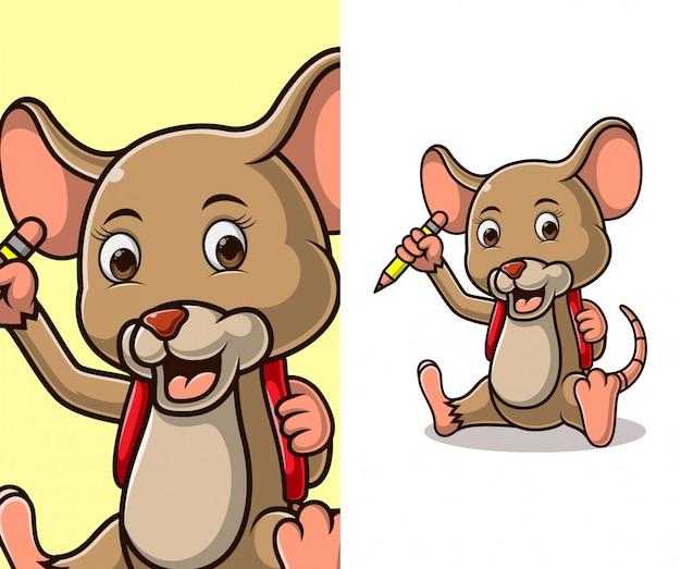 Personagem de desenho animado de rato pequeno bonito.